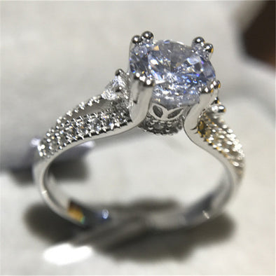 """Sabrina"" 925 Sterling Silver 1.25 Round AAA CZ Vintage Engagement Ring - Glitzies Accessories"