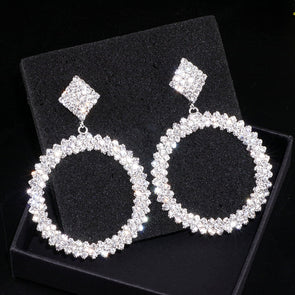 """Sabra"" Rhinestone Dangle Hoops - Glitzies Accessories"