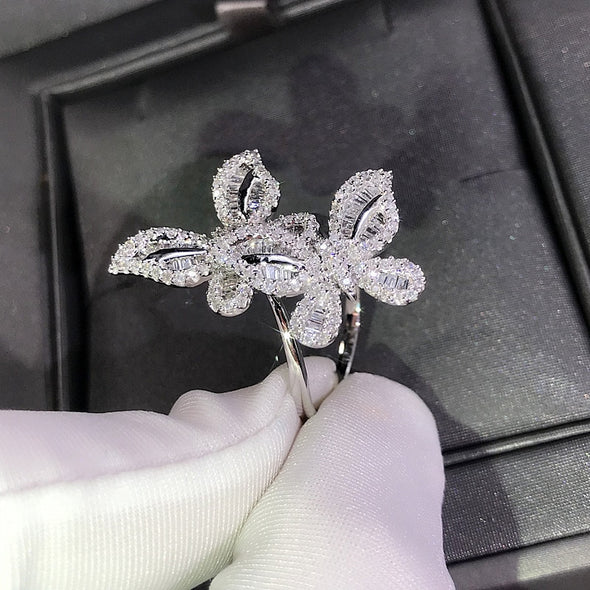 """Ciara"" 925 Sterling Silver Double Butterfly Ring - Glitzies Accessories"