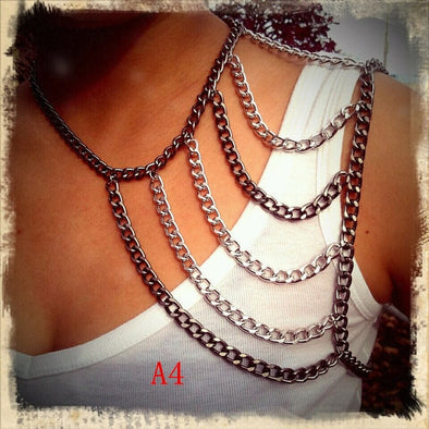 """Punky"" Heavy Chain Shoulder Necklace - Glitzies Accessories"