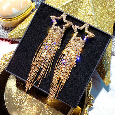 """Bella"" Shooting Star Rhinestone Tassel Earrings - Glitzies Accessories"