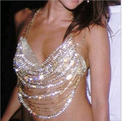 """Octavia"" Multilayered Rhinestone Chain Halter - Glitzies Accessories"