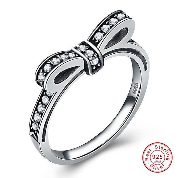 """Mila"" 925 Sterling Silver & Black Micro Pave CZ Bow Ring - Glitzies Accessories"