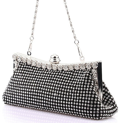 """Vegas"" Luxury Diamond Clutch/Shoulder Purse - Glitzies Accessories"