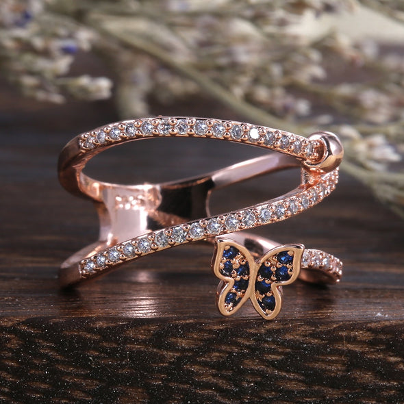 """Coley"" Rose Gold Twist Butterfly Ring - Glitzies Accessories"