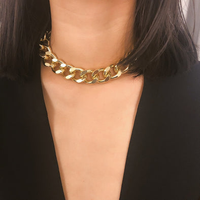 """Punk Rock"" Thick Chain Choker Necklace - Glitzies Accessories"