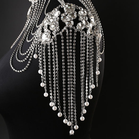"""Naomi"" Handmade Pearl and Rhinestone Shoulder Necklace - Glitzies Accessories"