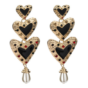 """Odessa"" Heart Pearl Dangles - Glitzies Accessories"