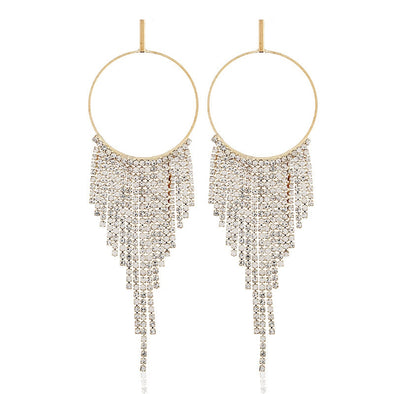 """Diamante"" Rhinestone Hoop Tassel Earrings - Glitzies Accessories"