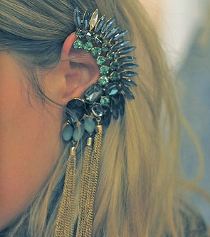 """Vapor"" Punk Gemstone Earcuff/Earring - Glitzies Accessories"