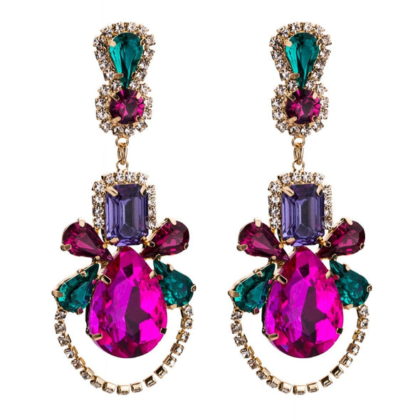 """Brielle"" Gem Drop Earrings - Glitzies Accessories"