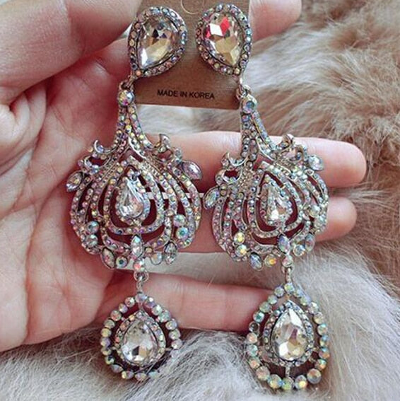 """Zara"" Luxurious Exaggerated Crystal Dangle Earrings - Glitzies Accessories"