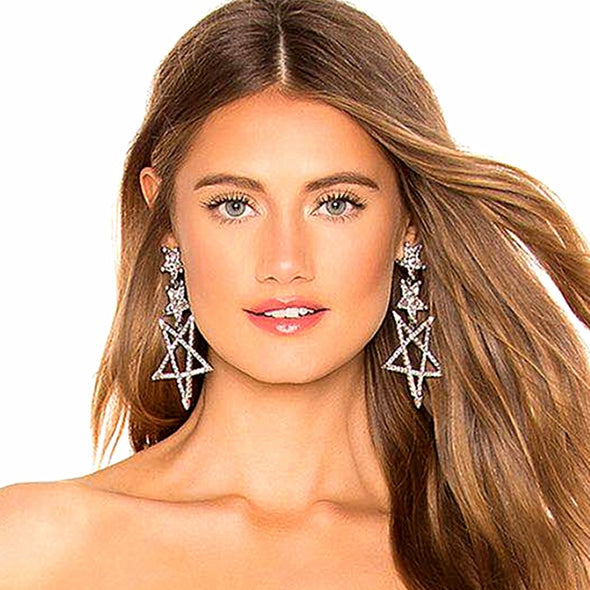 """Starla"" Big Luxury Star Dangle Earrings - Glitzies Accessories"