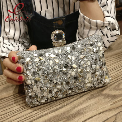 """Vivian"" Chunky Gem & Glitter Clutch/Cross-body Purse - Glitzies Accessories"