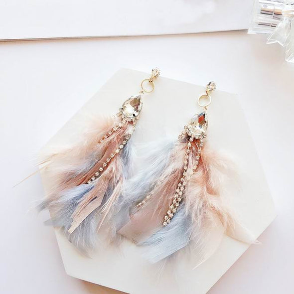 """Daphanie"" Elegant Multicolored Feather Tassel Earrings - Glitzies Accessories"