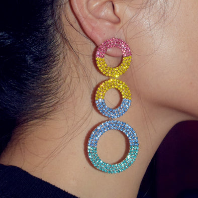 """Celestial"" 3 Circle Pastel Rhinestone Dangle Earrings - Glitzies Accessories"
