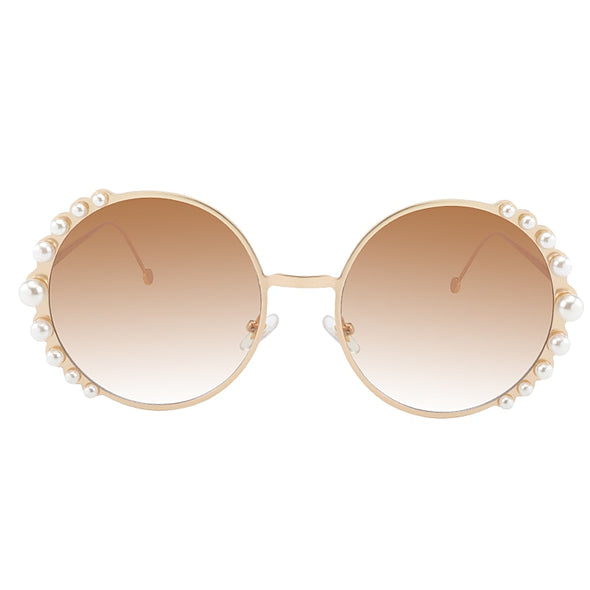 """Lily"" Round Pearl Sunglasses - Glitzies Accessories"