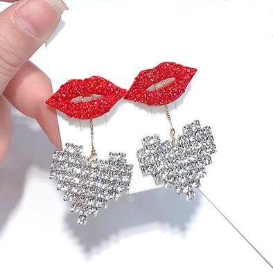 """Frenchie"" Red Lips Rhinestone Heart Earrings - Glitzies Accessories"