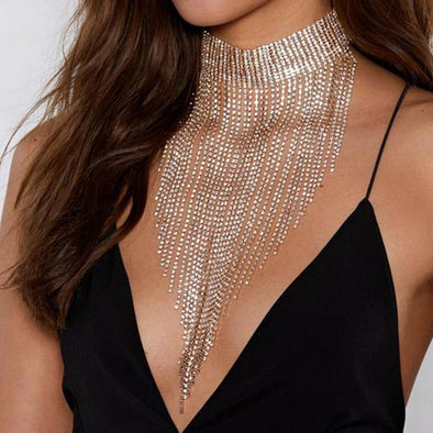 """Ryland"" Rhinestone Tassel Statement Choker - Glitzies Accessories"