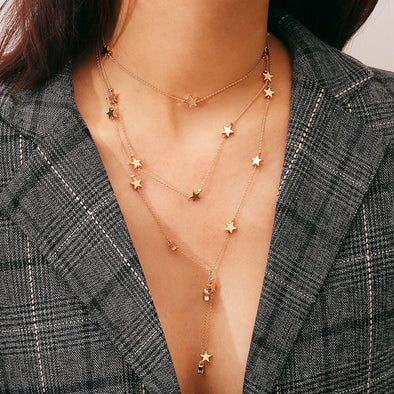 """Mia"" Long Layered Star Bohemian Necklace - Glitzies Accessories"