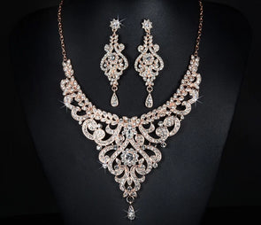 """Payton"" Gold Luxurious Vintage Necklace and Earring Set - Glitzies Accessories"