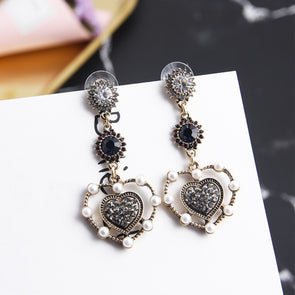 """Gabrielle"" Vintage Hollow Heart Earrings - Glitzies Accessories"