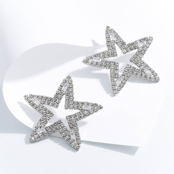 """Emi"" Hollow Rhinestone Star Stud Earrings - Glitzies Accessories"