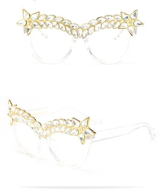 """Raquel"" Oversized Rhinestone Cat Eye Sunglasses - Glitzies Accessories"