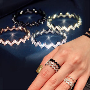 """Ziggy"" 925 Sterling Silver AAA CZ Zig-Zag Stackable Eternity Ring - Glitzies Accessories"