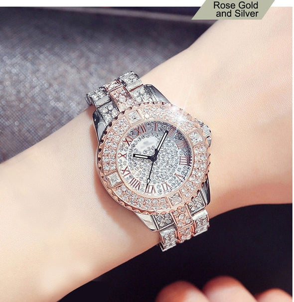 """Mercedes"" Rhinestone Diamond Encrusted Watch - Glitzies Accessories"