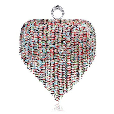 """Roxy"" Heart Clutch or Crossbody With Finger Ring - Glitzies Accessories"