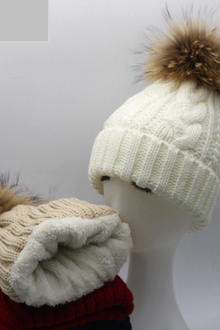 Beanie with real fur & fluffy lining - Adults & Kids - 7 colours!