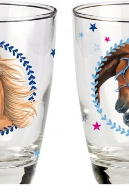Drinking glasses horse friends