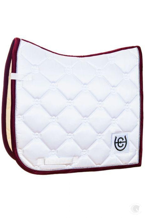 Equestrian Stockholm White Bordeaux Dressage Saddle Pad