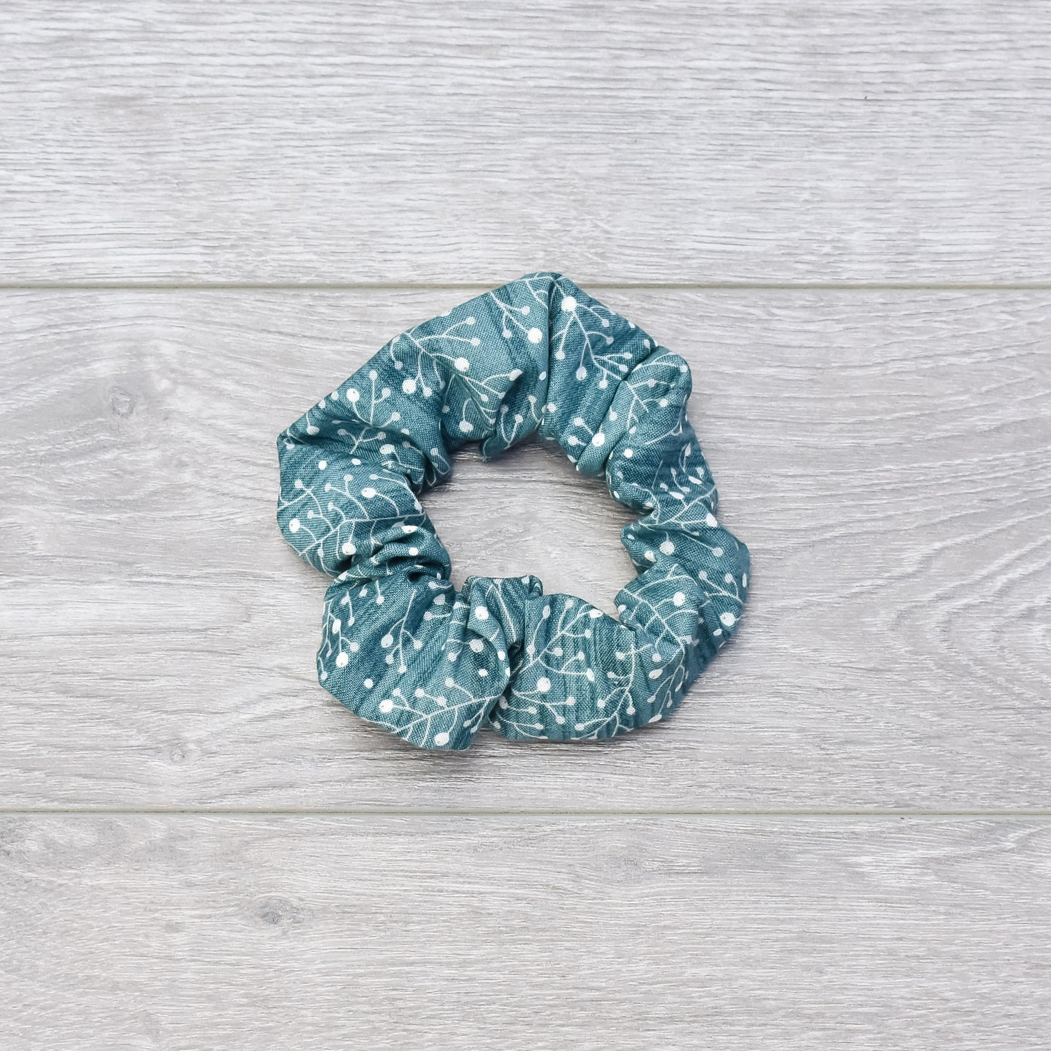 Teal Boughs & Berries Scrunchie