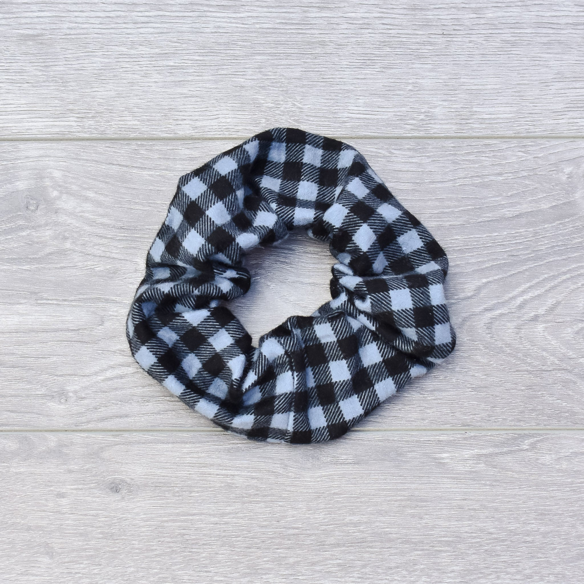 Black & Grey Plaid Scrunchie