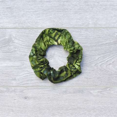 Green Batik Scrunchie