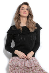 Ruffle Neck Sweater - LK's Boutique