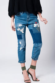Embroidered Patched Jeans - LK's Boutique