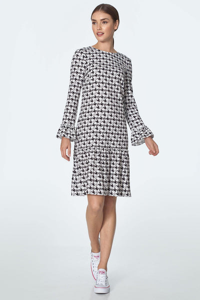 Houndstooth Frill Dress - LK's Boutique
