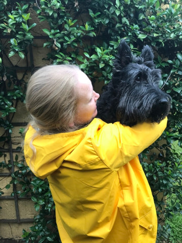 Classic yellow raincoat silver lining gumboots