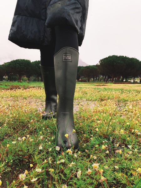 Silver Lining Classic Black Gumboot