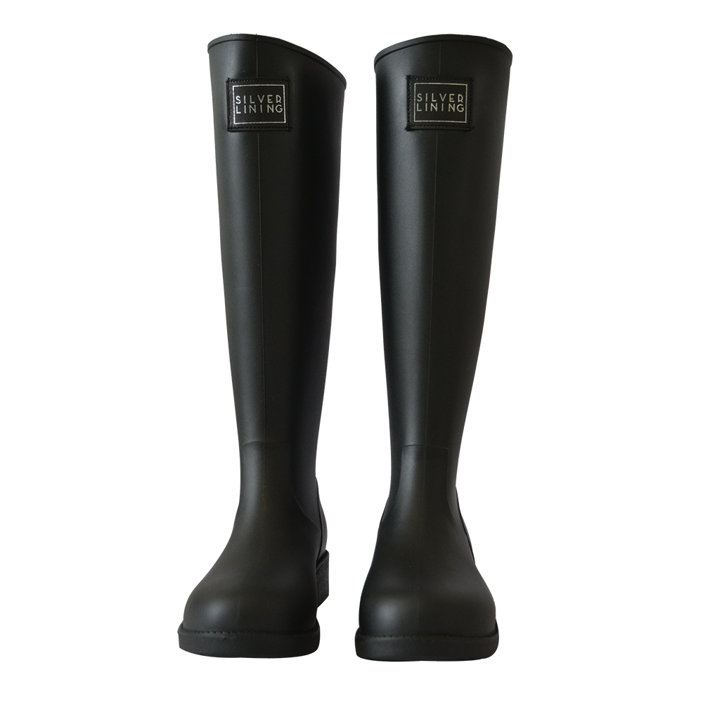Silver Lining Gumboots Classic Black