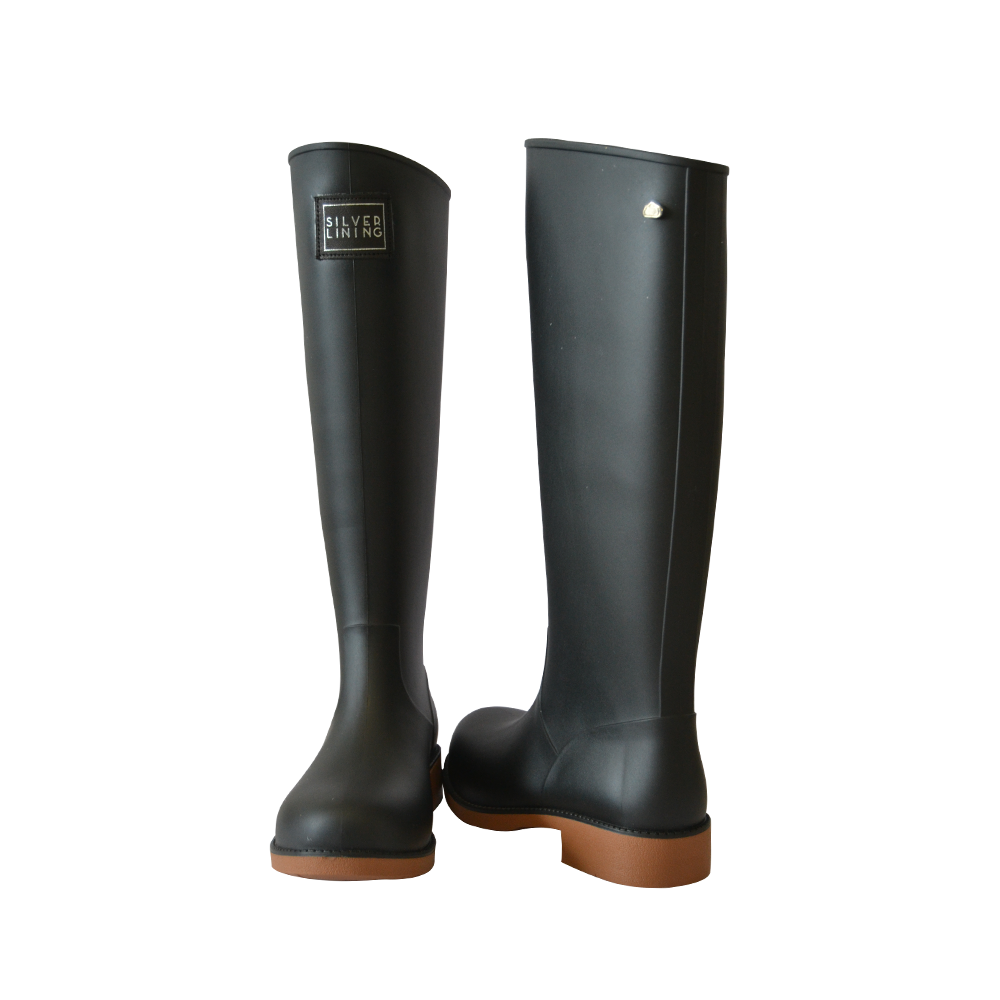 Silver Lining Gumboots Classic Toffee Black