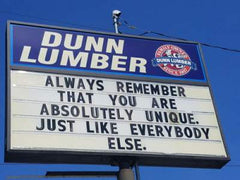 dunn lumber sign + joke