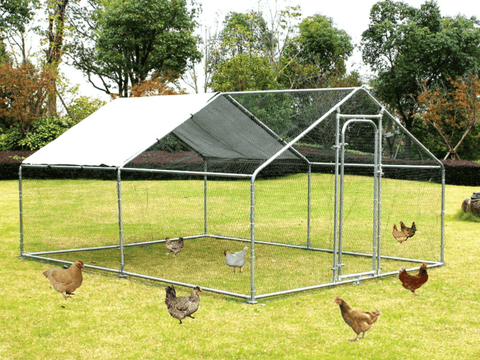 Chicken Coop Metal 32mm galvanized steel coop With Shade - PAKTEC