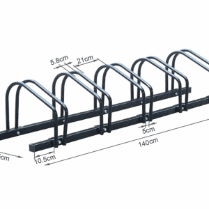 5 Slots Bicycle Display Stand Bike Storage Rack Floor Mounted Sturdy Steel - PAKTEC
