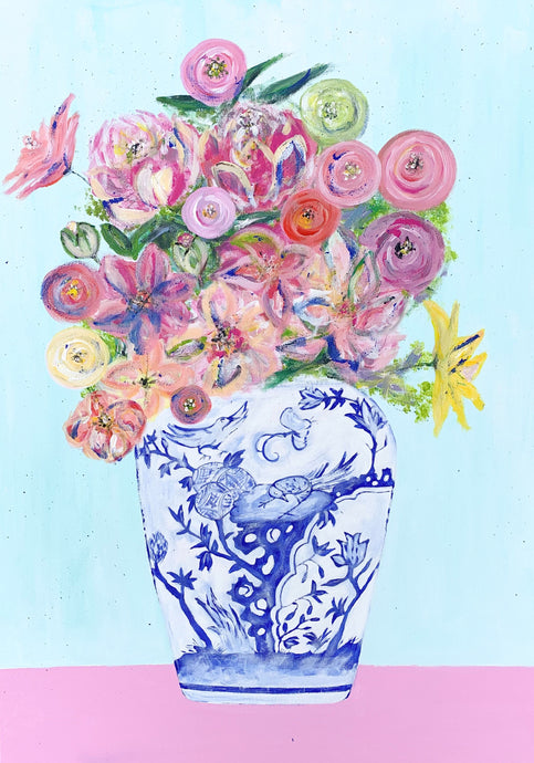 Floral Bouquet in chinese vase