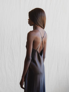 MS KENSINGTON - Midi Silk Slip - Charcoal - Australian Fashion and Accessories Boutique - Faid Store