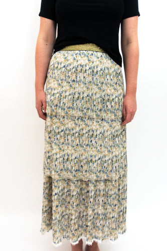 BAZ INC. - Floral Pleated Tiered Skirt - Australian Fashion and Accessories Boutique - Faid Store